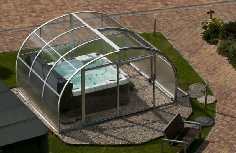 copertura telescopica per idromassaggio dallas spa 3 38 x 4 20 h 2 32 m. Black Bedroom Furniture Sets. Home Design Ideas