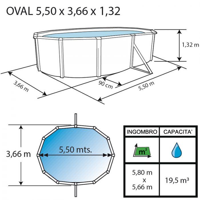 Piscina fuori terra ovale prestigio 5 50 x 3 66 h 1 32 m for Piscine autoportante ovale 6 10 x 3 66 x 1 22 m