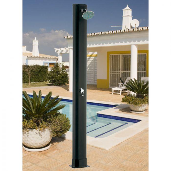 Doccia solare in pvc imitazione legno con miscelatore - Doccia solare per piscina ...