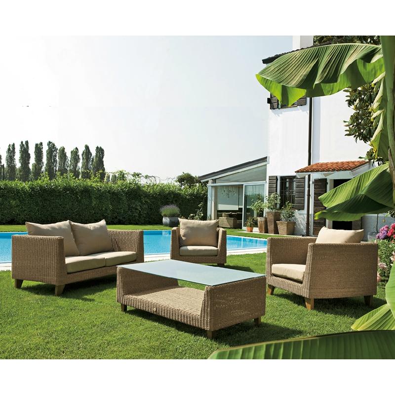 Salotto da giardino in wicker honolulu con cuscini for Salotto giardino
