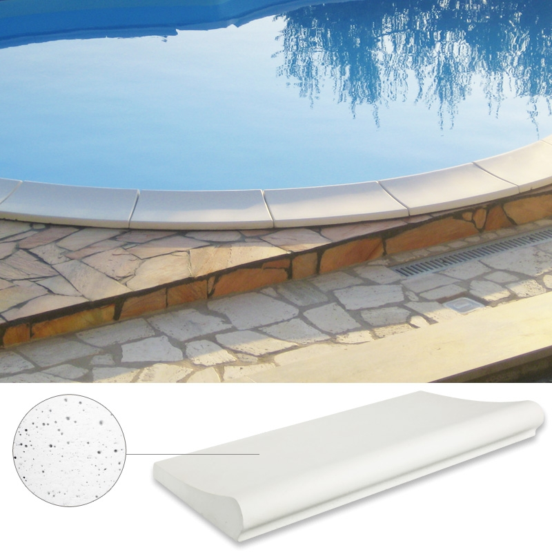 bordo sagomato standard bianco sabbiato antiscivolo per