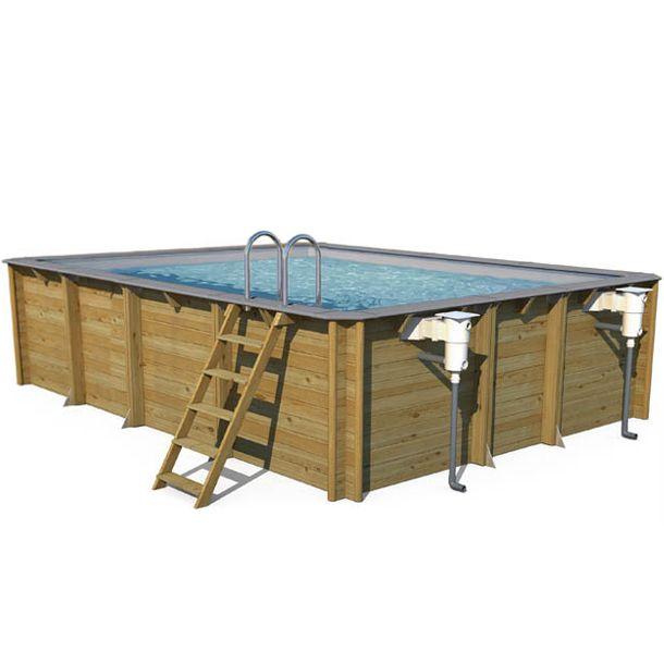 Piscina in legno fuori terra odyssea 5x5 quadrata 5 50 x 5 50 h 1 46 m - Piscina fuori terra quadrata ...