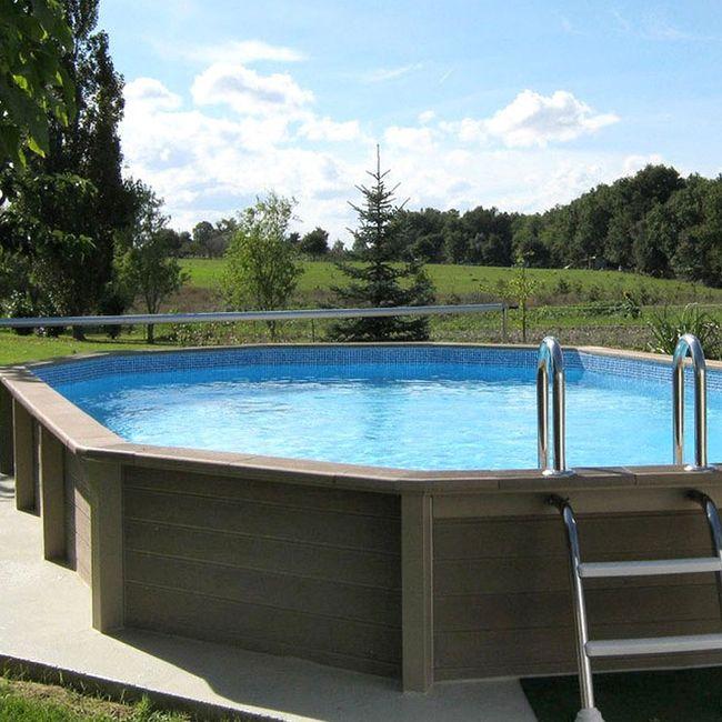 piscina fuori terra in pietra ricostruita effetto legno naturalis 7 87 x 4 72 h 1 40 m. Black Bedroom Furniture Sets. Home Design Ideas
