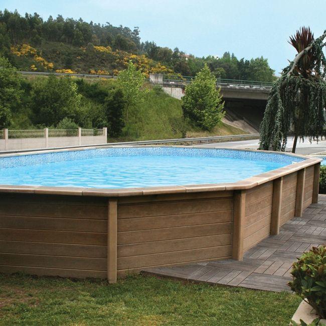 piscina fuori terra in pietra ricostruita effetto legno naturalis 6 35 x 4 72 h 1 28 m. Black Bedroom Furniture Sets. Home Design Ideas